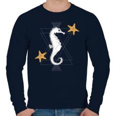 PRINTFASHION Tengeri csikó - Férfi pulóver - Sötétkék