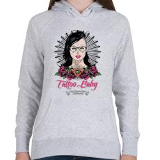 PRINTFASHION Tetovált lány - Női kapucnis pulóver - Sport szürke