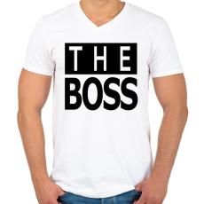 PRINTFASHION The Boss - Férfi V-nyakú póló - Fehér