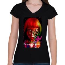 PRINTFASHION THE DRAWING OF MY FACE - Női V-nyakú póló - Fekete női póló