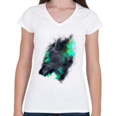 PRINTFASHION Tigriscsavar - Női V-nyakú póló - Fehér
