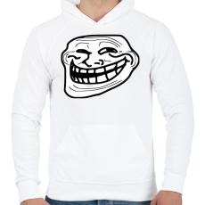 PRINTFASHION TrollFace - Férfi kapucnis pulóver - Fehér