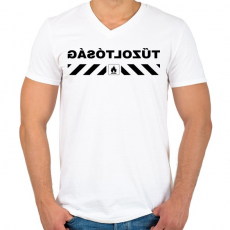 PRINTFASHION tűzoltósag-black - Férfi V-nyakú póló - Fehér