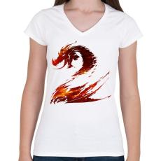 PRINTFASHION Tűzsárkány - Női V-nyakú póló - Fehér