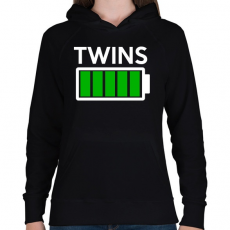 PRINTFASHION TWINS - Női kapucnis pulóver - Fekete