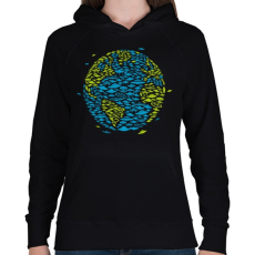 PRINTFASHION UFO Invázió - Női kapucnis pulóver - Fekete