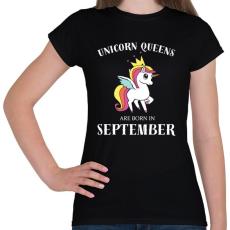 PRINTFASHION Unikornis királynők szeptemberben születnek - Női póló - Fekete