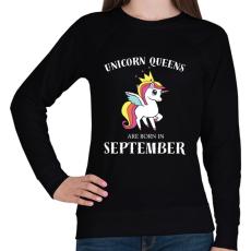 PRINTFASHION Unikornis királynők szeptemberben születnek - Női pulóver - Fekete