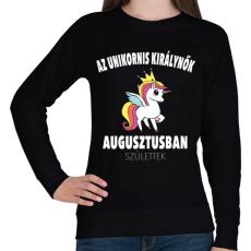 PRINTFASHION Unikornis királynők augusztusban születtek (MAGYAR) - Női pulóver - Fekete