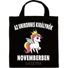 PRINTFASHION Unikornis királynők november születtek (MAGYAR) - Vászontáska - Fekete