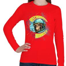 PRINTFASHION Űrhajós majom - Női hosszú ujjú póló - Piros