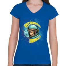 PRINTFASHION Űrhajós majom - Női V-nyakú póló - Királykék