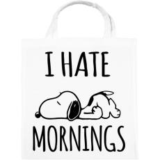 PRINTFASHION Utálom a reggeleket - Vászontáska - Fehér