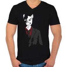 PRINTFASHION Üzlet Macska - Férfi V-nyakú póló - Fekete