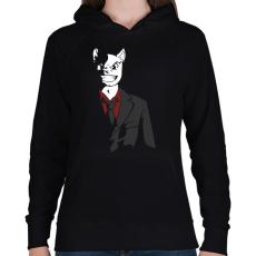 PRINTFASHION Üzlet Macska - Női kapucnis pulóver - Fekete