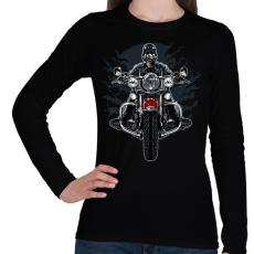 PRINTFASHION Vad motoros - Női hosszú ujjú póló - Fekete