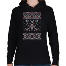 PRINTFASHION Vadász karácsony - Női kapucnis pulóver - Fekete