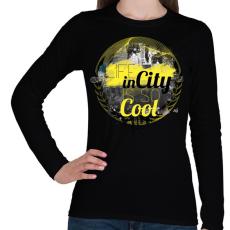 PRINTFASHION Városi élet - Női hosszú ujjú póló - Fekete