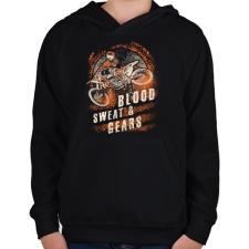 PRINTFASHION Vér, veríték és sebesség - Gyerek kapucnis pulóver - Fekete gyerek pulóver, kardigán