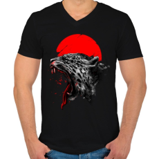 PRINTFASHION Vérfürdő - Férfi V-nyakú póló - Fekete
