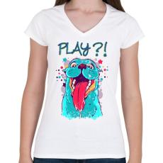 PRINTFASHION Vicces, játékos kutyás póló - Női V-nyakú póló - Fehér