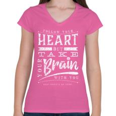 PRINTFASHION Vidd magaddal - Női V-nyakú póló - Rózsaszín