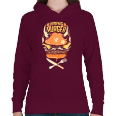 PRINTFASHION Viking Burger - Női kapucnis pulóver - Bordó