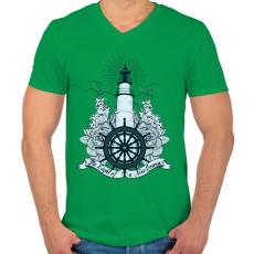 PRINTFASHION Világítótorony - Férfi V-nyakú póló - Zöld