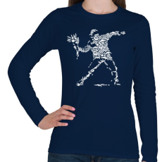 PRINTFASHION Virág vandalizmus - Női hosszú ujjú póló - Sötétkék
