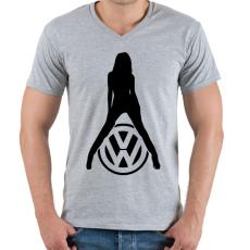 PRINTFASHION Volkswagen fan - Férfi V-nyakú póló - Sport szürke