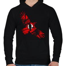 PRINTFASHION Vörös égbolt - Férfi kapucnis pulóver - Fekete
