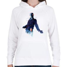 PRINTFASHION Walkmandead - Női kapucnis pulóver - Fehér