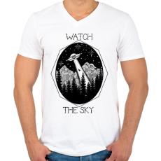 PRINTFASHION Watch the sky - Férfi V-nyakú póló - Fehér