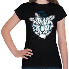 PRINTFASHION White tiger - Női póló - Fekete