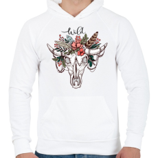 PRINTFASHION Wild Skull - Férfi kapucnis pulóver - Fehér