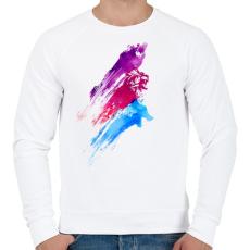 PRINTFASHION Wildcolours - Férfi pulóver - Fehér