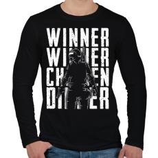 PRINTFASHION Winner Winner Chicken Dinner - Férfi hosszú ujjú póló - Fekete