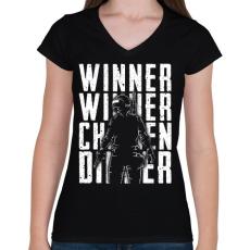 PRINTFASHION Winner Winner Chicken Dinner - Női V-nyakú póló - Fekete