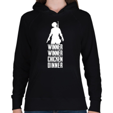 PRINTFASHION Winner Winner Chicken Dinner PUBG - Női kapucnis pulóver - Fekete