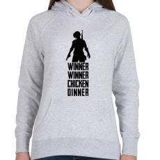 PRINTFASHION Winner Winner Chicken Dinner PUBG - Női kapucnis pulóver - Sport szürke