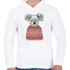 PRINTFASHION Winter koala (red) - Férfi kapucnis pulóver - Fehér