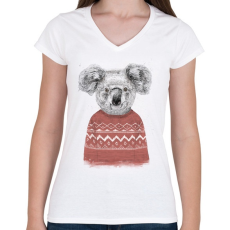 PRINTFASHION Winter koala (red) - Női V-nyakú póló - Fehér