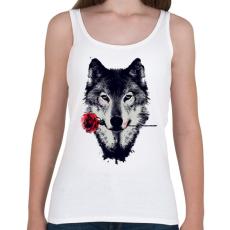 PRINTFASHION Wolf and red rose - Női atléta - Fehér