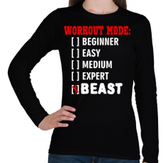 PRINTFASHION Workout mode: BEAST - Női hosszú ujjú póló - Fekete