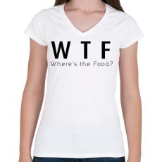 PRINTFASHION WTF? - Női V-nyakú póló - Fehér