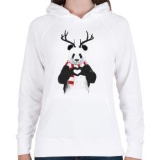 PRINTFASHION Xmas panda - Női kapucnis pulóver - Fehér
