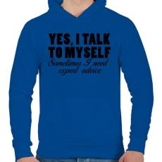 PRINTFASHION Yes, I talk to myself. - Férfi kapucnis pulóver - Királykék