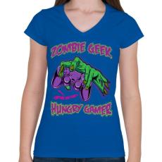 PRINTFASHION Zombi kockafej - Női V-nyakú póló - Királykék