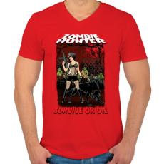 PRINTFASHION Zombi vadász - Férfi V-nyakú póló - Piros