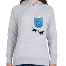 PRINTFASHION Zseb akvárium - Női kapucnis pulóver - Sport szürke